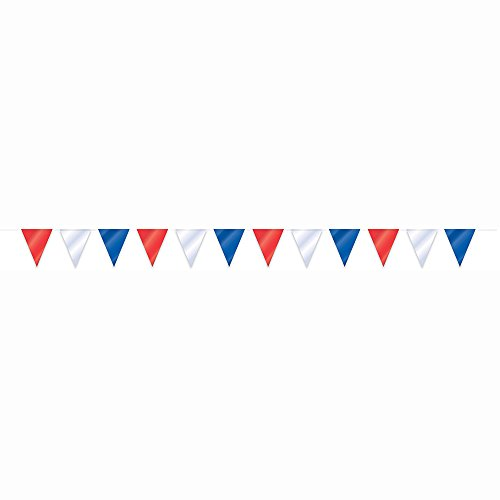 32.8ft Red, White, & Blue Patriotic Pennant Banner -