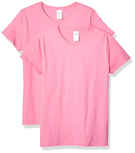 Gildan Women's Heavy Cotton Adult T-Shirt, 2-Pack, Azalea, Small