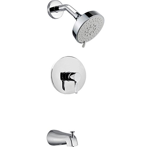 Ouku Contemporary Chrome Wall Mount Rain Single Handle Solid Brass Shower Faucet with Showerhead and Faucet Hot and Cold Mixer Taps Lavatory Shower System Plumbing Fixtures Unique Designer
