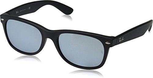 Ray-Ban RB2132 New Wayfarer Mirrored Sunglasses, Black Rubber/Silver Flash, 55 mm