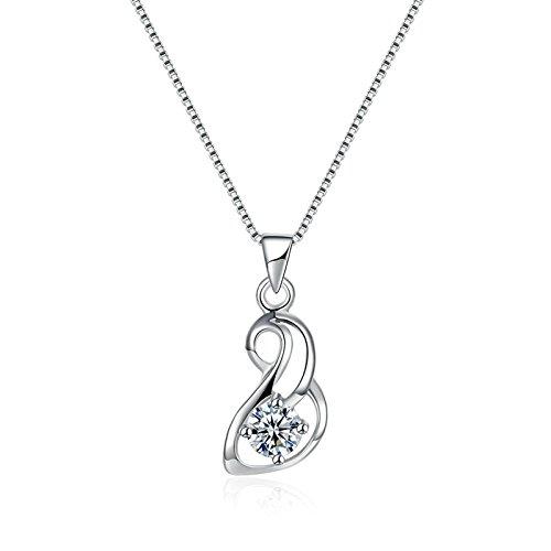 Epinki Women Necklace Sterling Silver Irregular Strawberry Shape White Chain Length: 40+4CM