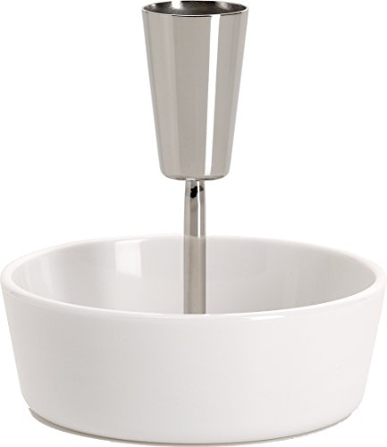 """Alessi""""Ape"""" Bowl For Olives in Thermoplastic Resin With Toothpick Holder in 18/10 Stainless Steel Mirror Polished, White"""