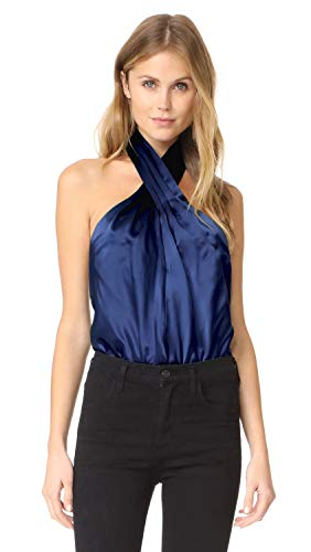 Amanda Silk Blouse (Amanda Uprichard Women's Novara Silk Charmeuse Halter Top Blue Sz M 920DH)