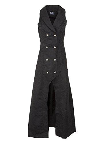 Womens-Black-Victorian-Steampunk-Gothic-Sleeveless-Coat-Jacket–Size-US-16