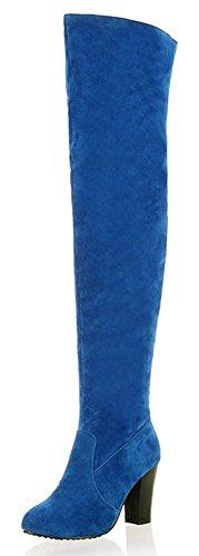 Aisun Women's Trendy Faux Suede Round Toe High High Heel Thigh High Boots With Zipper Blue