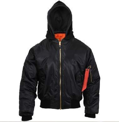 Jacket Hooded MA-1 Flight Jacket & Streamer Black/Orange Bomber Coat Air Force Get 1 Pcs (2XL)