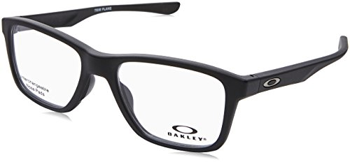 216b14ebad Oakley OX 8107 01 Trim Plane (TRUBRIDGE Satin Black Plastic Square  Eyeglasses 53mm