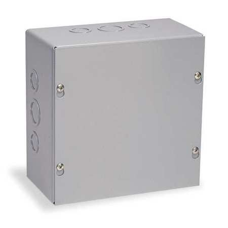 Wiegmann SC181808 SC-Series NEMA 1 Screw Cover, Wall Mount Pull Box with Knockouts, Painted Steel, 18'' x 18'' x 8''