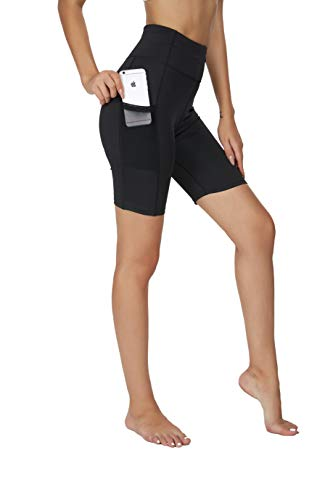 Brandless Yoga Shorts with Pockets for Women High Waisted Tummy Control Biker Running Workout Athletic Short Legging 7 Inches(M,Black)