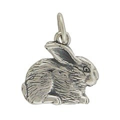 Small Detailed Textured Bunny Rabbit Pendant or Charm in Sterling Silver, Double Sided, (Rabbit Charms Pendant)
