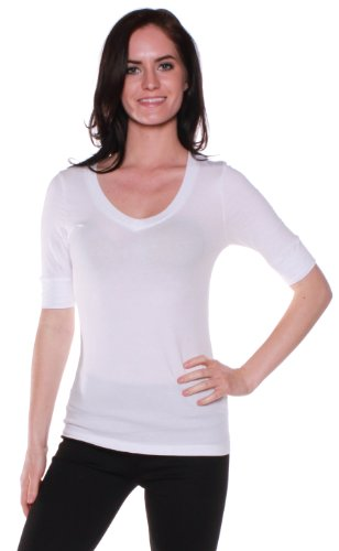 Emmalise Women's Cotton Blend V Neck Tee Shirt Half Sleeves - White, (Women Cotton Blend)