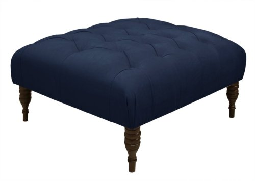Skyline Furniture Tufted Cocktail Ottoman in Velvet Navy
