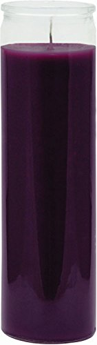 """INDIO 7 Day Glass Plain Color Glass Candles 8"""" Tall - Purple"""