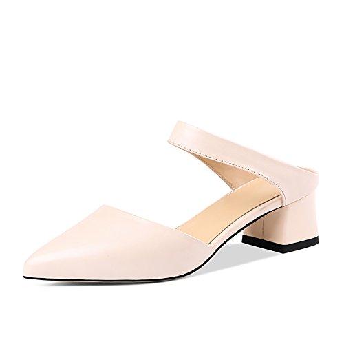 ZCJB Sandalias Baotou Mujer Verano Cuero Primavera Boca Poco Profunda Zapatos De Mujer Salvajes ( Color : Blanquecino , Tamaño : EU35/UK2/L:22cm )