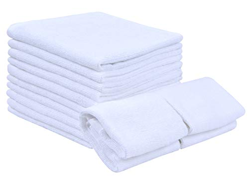SUNLAND 100% Cotton Multi-Purpose Washcloths Set Highly Absorbent Soft Towels for Bathroom-Hotel-Spa-Kitchen 12 Pack 12Inchx12Inch White by SUNLAND