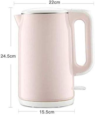 HLJ Electric Kettle, 1.7L Double Wall 100% roestvrij staal BPA-vrij Cool Touch Tea Kettle, automatische uitschakeling en droogkookbeveiliging