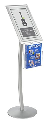 Displays2go CMB17NGW Floor Sign Stand with Literature Pocket, Snap Frame for 11x17-Inch Poster, Silver