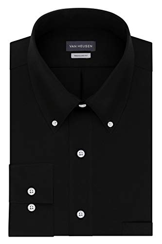 Van Heusen Men's Regular Fit Twill Solid Button Down Collar Dress Shirt, Black, 3X-Large ()