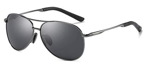 con Lente HD Light Gris De Gafas y Ultra Lente Metálico de Hombre Polarizadas Marco Negro Sol Marco Metal Ajustable Clásico WHCREAT para Unisex Mujer gOqYWA