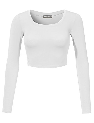 LE3NO Womens Fitted Long Sleeve Crop Top with Stretch, L3NWT1073_WHITE, -