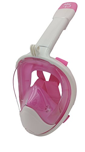 New 3rd Gen Full Face Snorkel Mask - Longer Breathing Tube, Flat Anti Fog Lens - Adult and Kids Size - GoPro Compatible, Easy to Breathe Underwater - Best Panoramic Snorkeling Masks (White/Pink, S/M) - Cheap Masks For Sale