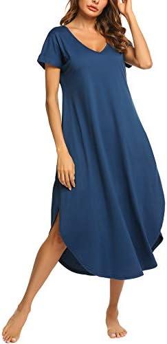 luxilooks Women's Sleepwear Casual V Neck Nightshirts Short Sleeve Long Nightgown Pockets Loungewear S-XXL