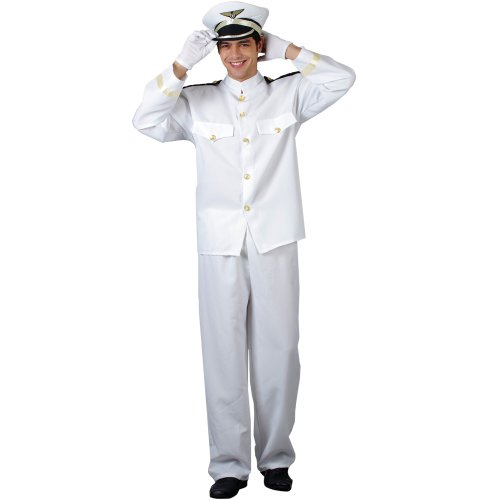 Naval Officer Uniform Costume (WICKED NAVY SAILOR WHITE UNIFORM NAVAL OFFICER FANCY DRESS COSTUME)