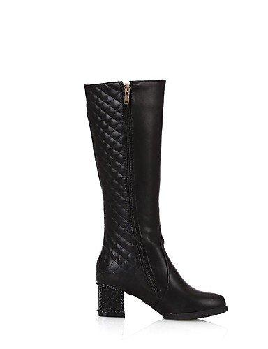 XZZ    Damenschuhe - Stiefel - Kleid - Kunstleder - Blockabsatz - Rundeschuh   Modische Stiefel - Schwarz   Braun   Weiß 2c31a0
