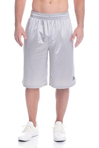 Above The Rim Men's Mesh Basketball Shorts - Workout & Gym Shorts For Men - Starting 5 - Chrome Grey, X-Large