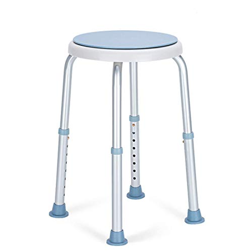 OasisSpace 360 Degree Rotating Shower Chair, Tool Free Adjustable Shower Stool Tub Chair and Bathtub Seat Bench with Anti-Slip Rubber Tips for Safety and Stability