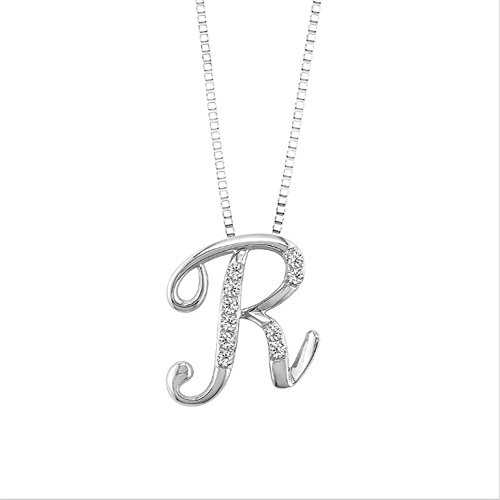 JMS Jewelry 18K White Gold Initial R Pave with Diamond for sale  Delivered anywhere in USA