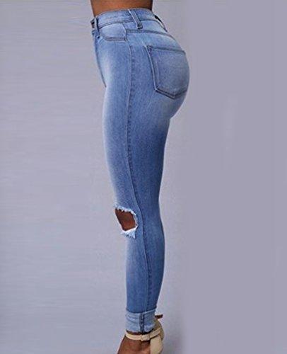 Casuale Matita Distruggere Jeans Azzurro Vita Alta Boyfriend Dooxi Donna Skinny Pantaloni Denim Eleganti q5t4AHAxw