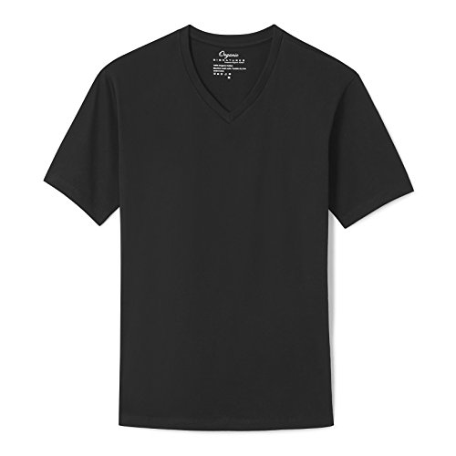 Black Organic Cotton Tee - Organic Signatures Cotton T Shirt for Men, V Neck, Short Sleeve (Large, Black)