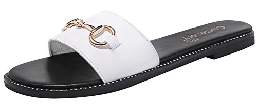 T&Mates Womens Fashion Comfort Indoor Outdoor Shoes Open Toe Metal Buckle Flat Slippers (7.5 B(M)US,White)