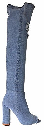 Pazzle Una-01 Thigh High Over Knee Stretch Denim Open Toe Block Heel Boot Lite Blue