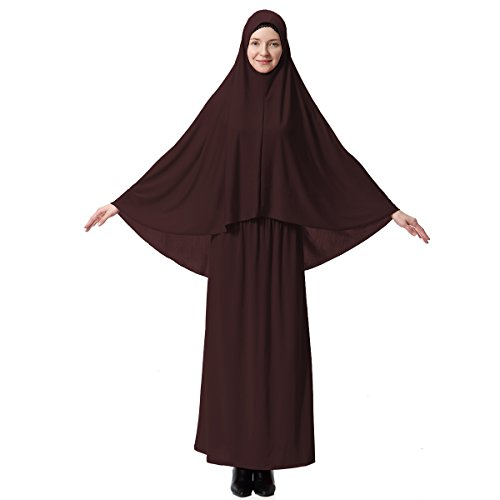 (Muslim Dresses for Women Two-Piece Full Length Dress Hijab Suit Abaya Scarf Dress Robe Gown Prayer Sets Brown )