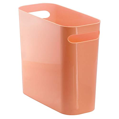 "mDesign Slim Plastic Rectangular Small Trash Can Wastebasket, Garbage Container Bin with Handles for Bathroom, Kitchen, Home Office, Dorm, Kids Room - 10"" High, Shatter-Resistant - Coral Orange"