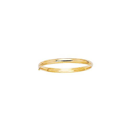 JewelStop 14k Yellow Gold 3 mm (2/16'') Polished Baby Bangle - 5.5'' by JewelStop