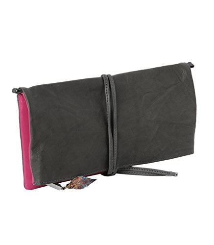 Wanawake - Cartera de mano de Piel para mujer Varios Colores Grau/Pink: Amazon.es: Ropa y accesorios