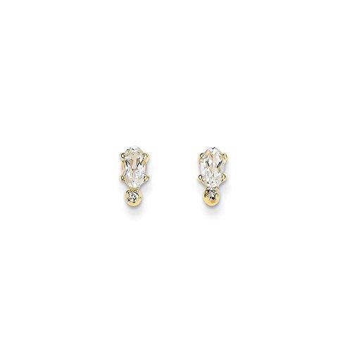 Perfect Jewelry Gift 14k Diamond & White Topaz Birthstone Earrings