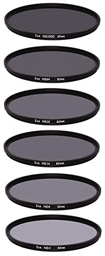 ICE 82mm 6 ND Filter Set Slim ND1000 ND64 ND32 ND16 ND8 ND4 Neutral Density 82 10, 6, 5, 4, 3, 2 Stop Optical Glass
