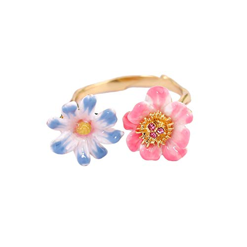 Fashion wonderland Light Blue Pink Sunny Flower Enamel Ring Charm Vintage Jewelry (Enamel Blue Ring Wonderland)