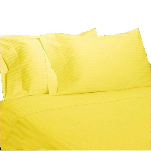 - Nile Bedding Collection Luxury Hotel Bed Sheets Egyptian Cotton 600 TC 6-PCs Sheet Set 15 Inches Deep Pocket Yellow Striped Queen Size (1 Fitted sheet,1 Flat Sheet & 4 Pillowcover)
