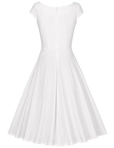 MUXXN Women's 50s Vintage Elegant Boat Neck Bridesmaid Swing Dress(M,White)