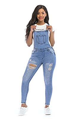 POPTIME Women's Jeans Jumpsuit Long Denim Ripped Distressed Trousers Overalls Strap