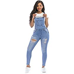 POPTIME Women's Jeans Jumpsuit Long Denim Ripped Distressed Trousers Overalls Strap Jeans Jumpsuits (Medium, Blue)