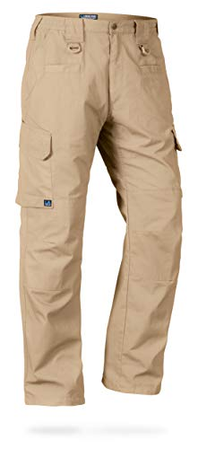 LA Police Gear Men's Water Resistant Operator Tactical Pant with Elastic Waistband Khaki-34 x 32