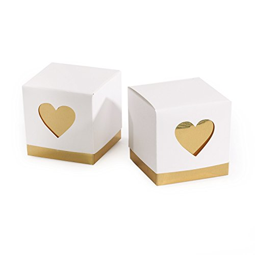Ling's Moment 50 Count 2x2x2 Hershey Kisses Love Boxes Gold Classy Bonbonniere with Lid, Candy Favor Boxes Wedding Party Birthday Baby Shower Decoration