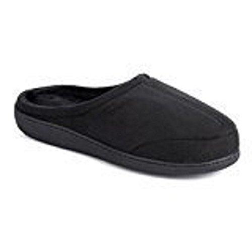 sharper-image-mens-soft-memory-foam-slippers-black-hard-sole-w-support-lg-9-10