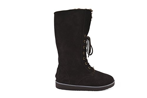 Aussie Merino Fur Lined Wool Cold Weather Water Resistant Winter Boot Mid Calf - Grace Chocolate mJ09M6X